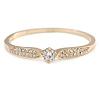 Statement Crystal, Round Cz Bangle Bracelet in Polished Gold Tone Metal - 19cm L