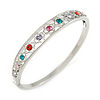 Multicoloured Crystal Floral Bangle Bracelet In Polished Silver Tone - 19cm L
