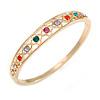 Multicoloured Crystal Floral Bangle Bracelet In Polished Gold Tone - 19cm L