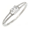Show Off Crystal, Princess Cut Cz Bangle Bracelet in Polished Silver Tone Metal - 19cm L