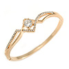 Fancy Clear Crystal, Cz Bangle Bracelet in Polished Gold Plated Metal - 19cm L