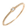 Delicate Clear Crystal Round Cut Cz Bangle Bracelet In Gold Plated Metal - 19cm L