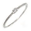 Delicate Clear Crystal Round Cut Cz Bangle Bracelet In Rhodium Plated Metal - 19cm L