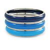 Set Of 3 Blue Enamel Slip-On Bangle Bracelets In Silver Tone Metal - 20cm L