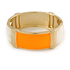 Orange/ Off White Enamel Oval Hinged Bangle Bracelet In Gold Tone Metal - 18cm L