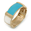 Light Blue/ Off White Enamel Oval Hinged Bangle Bracelet In Gold Tone Metal - 18cm L
