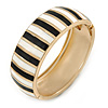 Black/ White Enamel Stripy Hinged Bangle Bracelet In Gold Tone Metal - 18cm L