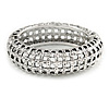 Vintage Inspired 'Basket-Work' Effect Chunky Hinged Oval Bangle Bracelet In Antique Silver Tone - 19cm L