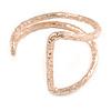 Geometric Open Hammered Cuff Bangle Bracelet In Rose Gold Tone - 20cm L/ Large