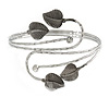 Antique Silver Tone Leaves and Crystals Upper Arm, Armlet Bracelet - Adjustable