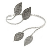 Aged Silver Tone Leaf Floral Upper Arm, Armlet Bracelet - Adjustable