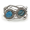 Vintage Inspired Blue Semiprecious Stone Wire Cuff Bracelet/ Bangle - Silver Tone - Adjustable