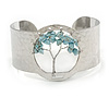 Stunning Turquoise Stone Tree Of Life Hammered Cuff Bangle Bracelet In Silver Tone - Flex - Boxed