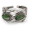 Vintage Inspired Green Semiprecious Stone Wire Cuff Bracelet/ Bangle - Silver Tone - Adjustable