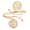 Egyptian Style Swirl Upper Arm, Armlet Bracelet In Gold Tone with Hammered Detailing - Adjustable