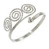 Silver Tone Textured Crystal 'Twirly' Upper Arm Bracelet Armlet - 28cm Long - Adjustable