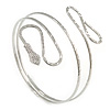 Silver Tone Hammered Snake Upper Arm, Armlet Bracelet - up to 28cm upper arm