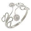 Silver Plated Textured 'Flowers & Twirls' Diamante Upper Arm Bracelet Armlet - Adjustable