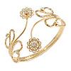 Gold Plated Textured 'Flowers & Twirls' Diamante Upper Arm Bracelet Armlet - Adjustable