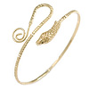 Gold Tone Metal Textured Snake Upper Arm Bracelet Armlet - Adjustable