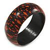 Orange/ Black Wood Bangle Bracelet - Medium - up to 18cm L