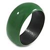 Green Wood Bangle Bracelet - Medium - up to 18cm L