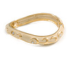 Light Cream Enamel Curvy Crystal Hinged Bangle in Gold Tone Metal - 18cm Long