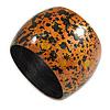 Wide Chunky Wooden Bangle Bracelet in Orange/ Gold/ Black