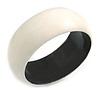Off White Wood Bangle Bracelet(Possible Natural Irregularities)