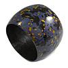 Chunky Wooden Bangle Bracelet in Plum Blue/ Gold/ Black