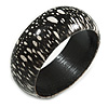 Black/ White Wood Bangle Bracelet