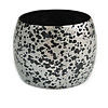 Chunky Wooden Bangle Bracelet in Metallic Silver/ Black