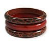 Set of 3 Animal Print Wooden Bangles In Brown