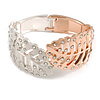 Statement Double Leaf Clear Crystal Hinged Bangle Bracelet in Silver/ Rose Gold Tone - 17cm Long