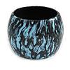 Oversized Chunky Wide Wood Bangle (Light Blue & Black) - Medium Size