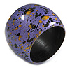 Chunky Wooden Bangle Bracelet in Purple/ Gold/ Black - Medium Size