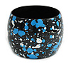 Wide Chunky Wooden Bangle Bracelet in Light Blue/ White/ Black - Medium Size