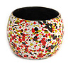 Wide Chunky Wooden Bangle Bracelet in Red/ Olive/ White/ Black - Medium Size