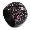 Wide Chunky Wooden Bangle Bracelet Abstract Pattern in Black/ White/ Pink - Medium Size