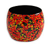 Wide Chunky Wooden Bangle Bracelet Abstract Pattern in Red/ Black/ Yellow - Medium Size