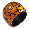 Chunky Wooden Bangle Bracelet in Metallic Orange/ Gold/ Black - Medium Size