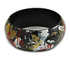 Wooden Bangle Bracelet in Abstract Paint in Black/ Gold/ White/ Red - Medium Size