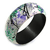 Round Wooden Bangle Bracelet in Abstract Paint in White/ Black/ Green/ Purple - Medium Size