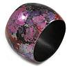 Wide Chunky Wooden Bangle Bracelet in Abstract Paint in Pink/ Black/ Purple/ Silver- Medium Size