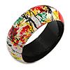 Round Wooden Bangle Bracelet in Abstract Paint in Multi - Medium Size