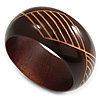 Wide Chunky Wooden Bangle Bracelet with Geometric Pattern/ Medium/Possible Natural Irregularities