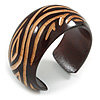 Wide Chunky Wooden Cuff Bracelet/ Bangle with Curvy Lines Pattern/ Medium /Possible Natural Irregularities