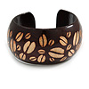 Wide Chunky Wooden Cuff Bracelet/ Bangle with Coffee Beans Motif/ Medium /Possible Natural Irregularities