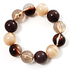 Round Beaded Flex Bracelet (Coffee, Brown, Beige & Cream)