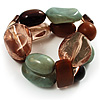 2 Strand Mixed Resin Bead Stretch Bracelet (Green, Coffee & Beige)